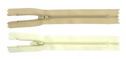 25 or 50 x NYLON CLOSED ENDED AUTOLOCK CUSHION ZIPS No3 10 Ivory or Beige