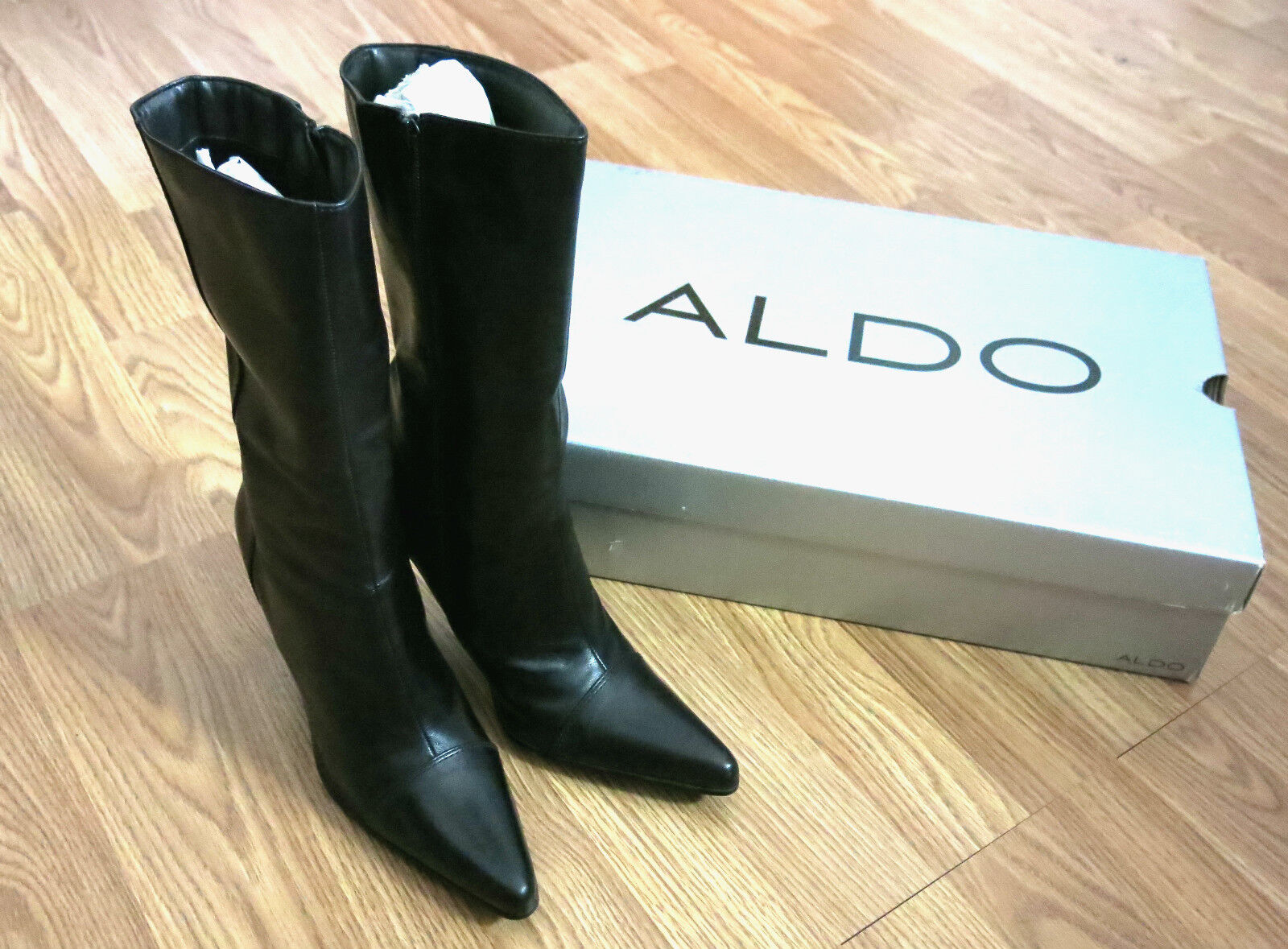 ALDO WOMEN'S HIGH HEEL BOOTS ~ SILK ROYAL BLACK ~ SIZE 39