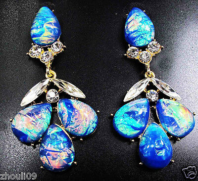 fashion show Lady Statement crystal charms long earrings fashion jewelry 6.5cm