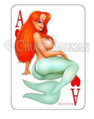 JESSICA RABBIT 1940 HARLEY motorcycle pin-up playing card style sticker decal
