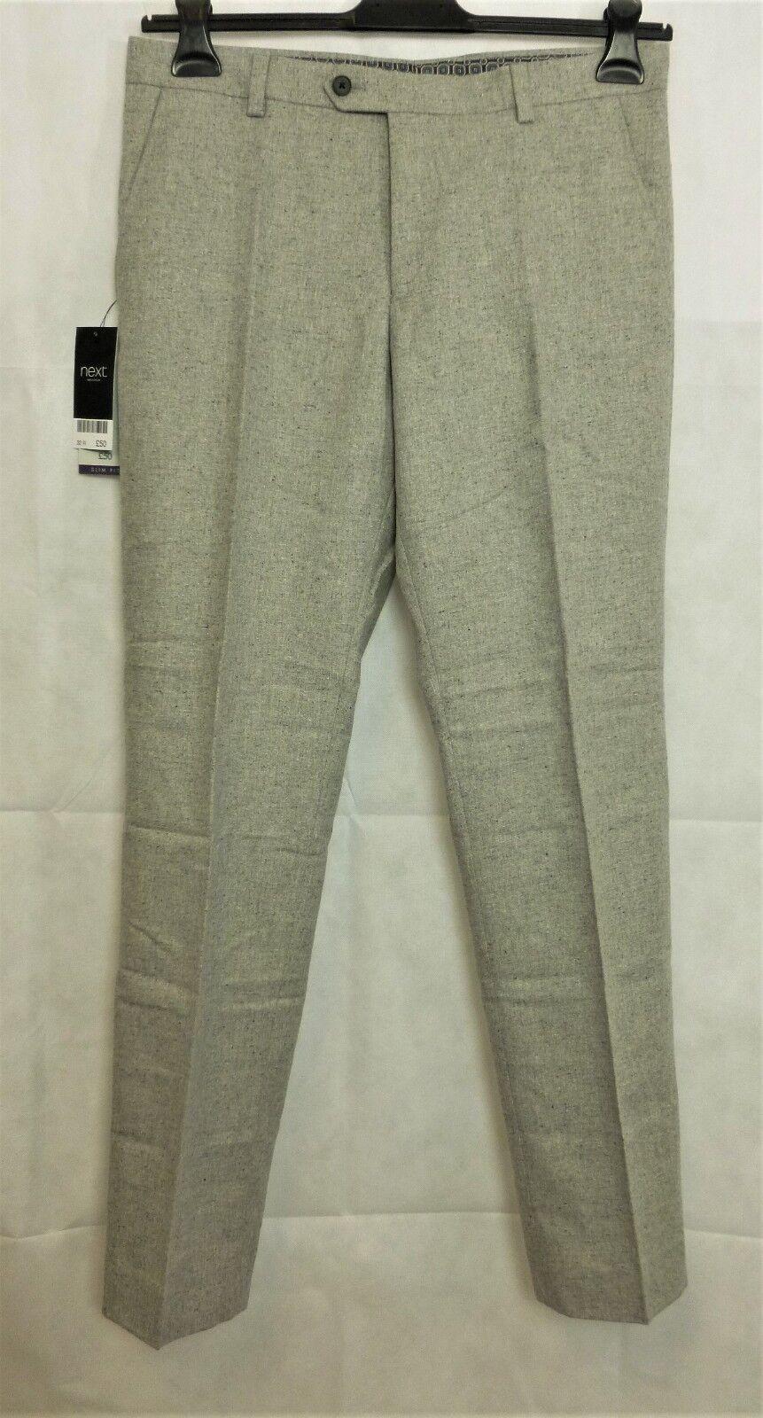 Mens Next Light Grey Nep Wool Trousers W32 Regular CS171 CC 09