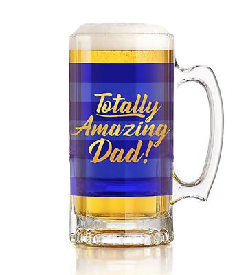 """""""assolutamente Incredibile Papa' """"tankard Beer Glass-blue & Gold Nuovo Con Scatola-"""