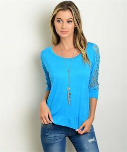 New-Le-Shop-Juniors-Aqua-Boho-Crochet-Sleeve-Western-Blouse-Shirt-Top-S