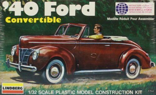 Lindberg 1:32 /'40 Ford Convertible Plastic Model Kit #2120