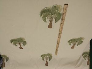 100-Cotton-Upholstery-Embroidered-Palm-Trees-57-034-W-3-yd-piece-Can-CTO