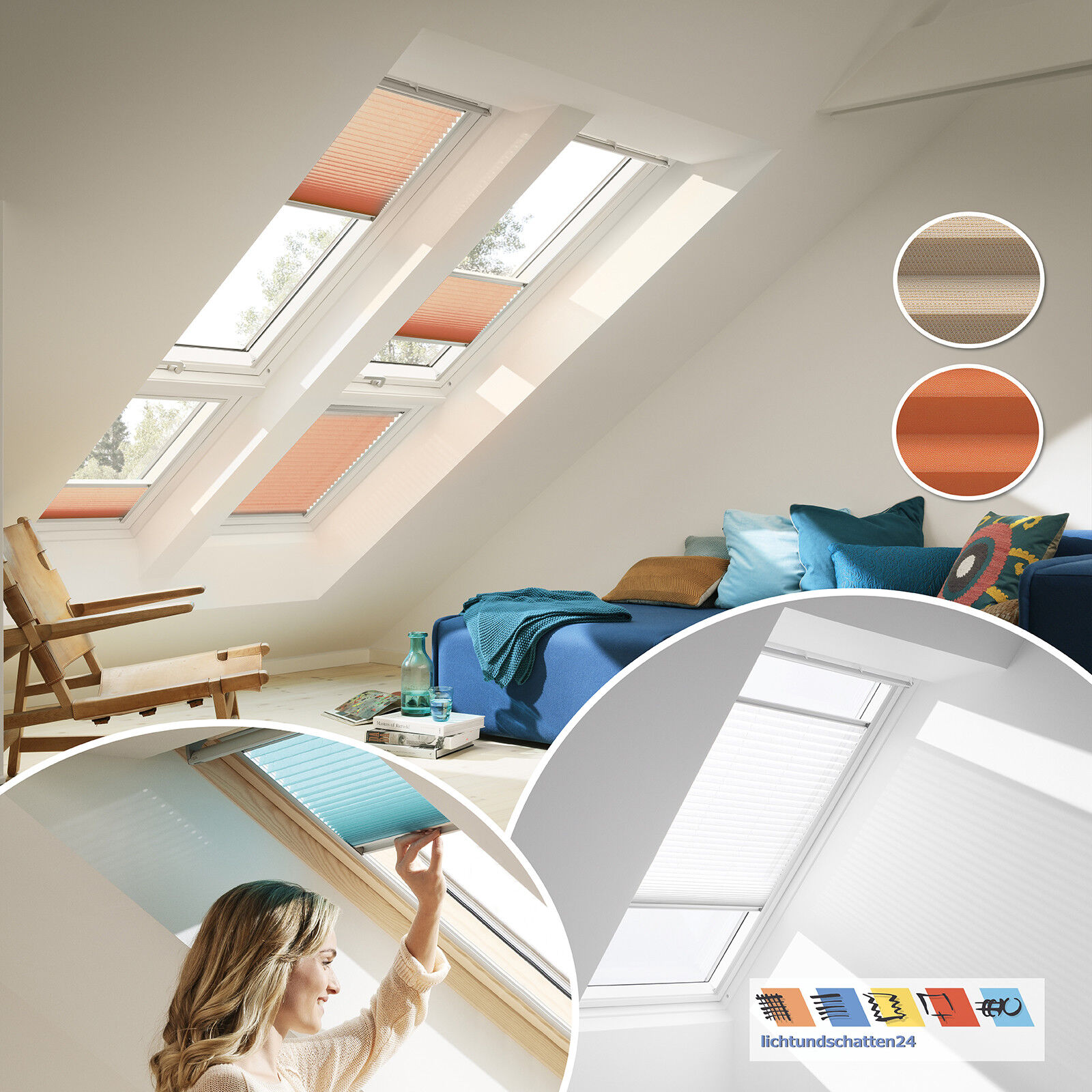 Orig Velux Dachfenster Plissee Faltstores Faltrollo 1261 1267 GGL GPL..GGU GPU..  | New Style