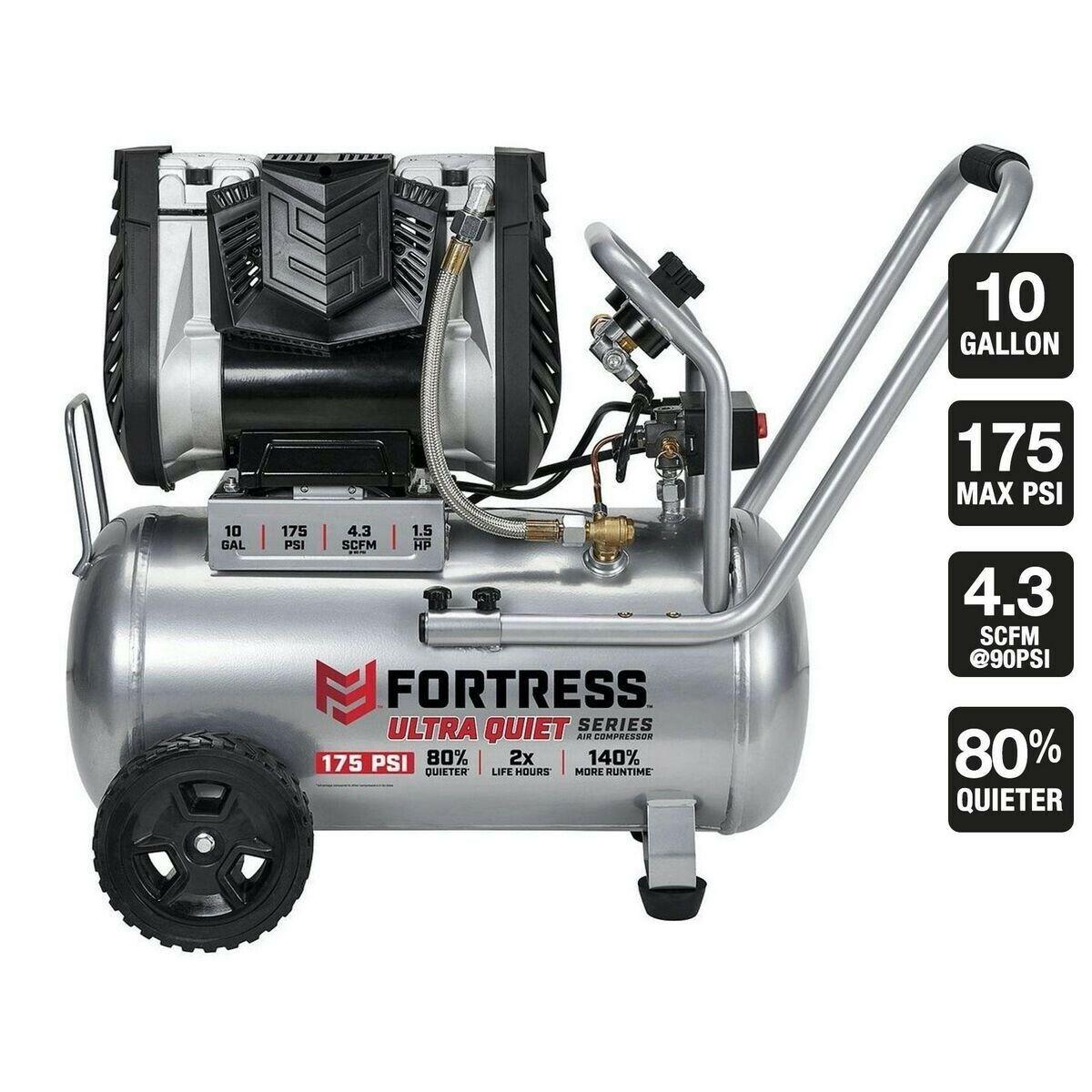 FORTRESS 10 Gallon 175 PSI Ultra Quiet Horizontal Shop/Auto Air Compressor+Bonus. Buy it now for 349.99