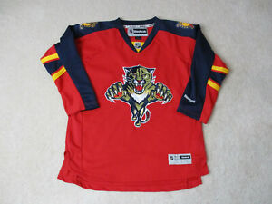 Reebok-Florida-Panthers-Hockey-Jersey-Youth-Extra-Large-Red-Blue-SEWN-Boys-Kids