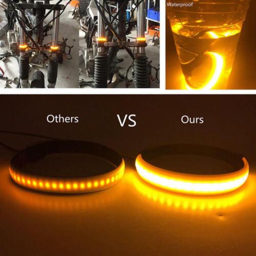 Brake Light Amber LED Strips ITI 2Pcs Universal Motorcycle Fork Turn Signals