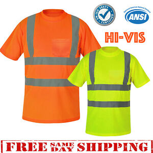 174f633c1eefd Hi Vis T Shirt ANSI Class 3 Reflective Tape Safety Short Sleeve HIGH ...