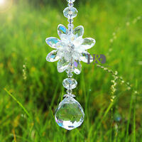 Hanging Chalcedony Suncatcher Clear Crystal Ball Prisms Rainbow FengShui Pendant