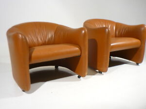 Elegant Image Is Loading 2 Vintage Metropolitan Leather Club Lounge Chairs Mid
