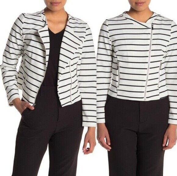 *NWT* Bagatelle Striped Asymmetrical Zip Jacket - Small Petite