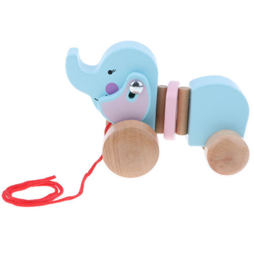 Elephant Wooden Pull Along Toy for Beginner Walkers Early Development Toys