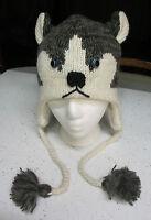 HUSKY HAT costume ADULT knit LINED Alaskan malamute mens womens People human cap