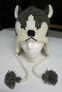 HUSKY-HAT-costume-ADULT-knit-LINED-Alaskan-malamute-mens-womens-People-human-cap