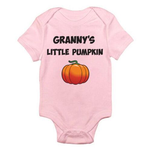 Novelty Themed Baby Grow //Suit Grandma GRANNY/'S LITTLE PUMPKIN Halloween