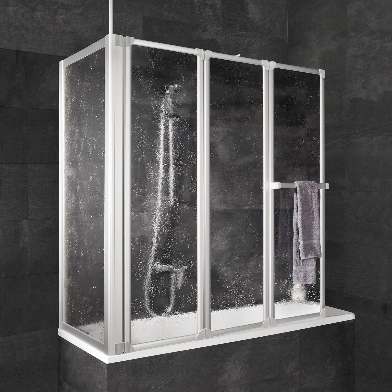 Badewannenaufsatz Faltwand Badewanne Duschaufsatz inkl.Seitenwand 3mm Schulte