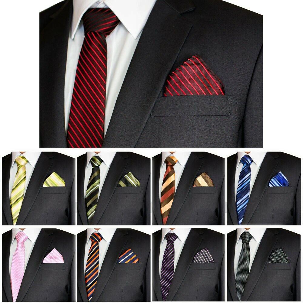 SET: Herren Krawatte mit Einstecktuch + Anleitung Streifen Muster Schlips Akzent