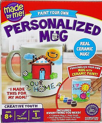 Kids Paint Your Own Ceramic Mug Cup Personalized Family Craft Kit 8+
