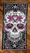Large Paisley Sugar Skull Soft Bath Beach Towel Biker Gift #1004
