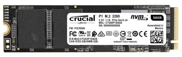 CRUCIAL P1, 500 GB SSD, intern
