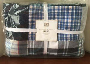 Pottery Barn Kids Maritime Patchwork Madras Quilt Twin