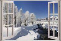 Huge 3D Window view Snowy Mountain Stream Wall Sticker Decal Wallpaper 755