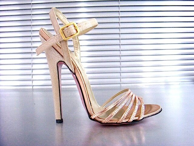 MORI ITALY SANDALS HIGH HEELS SANDALETTE SANDALI SCHUHE LEATHER ORO GOLD ROSE 43