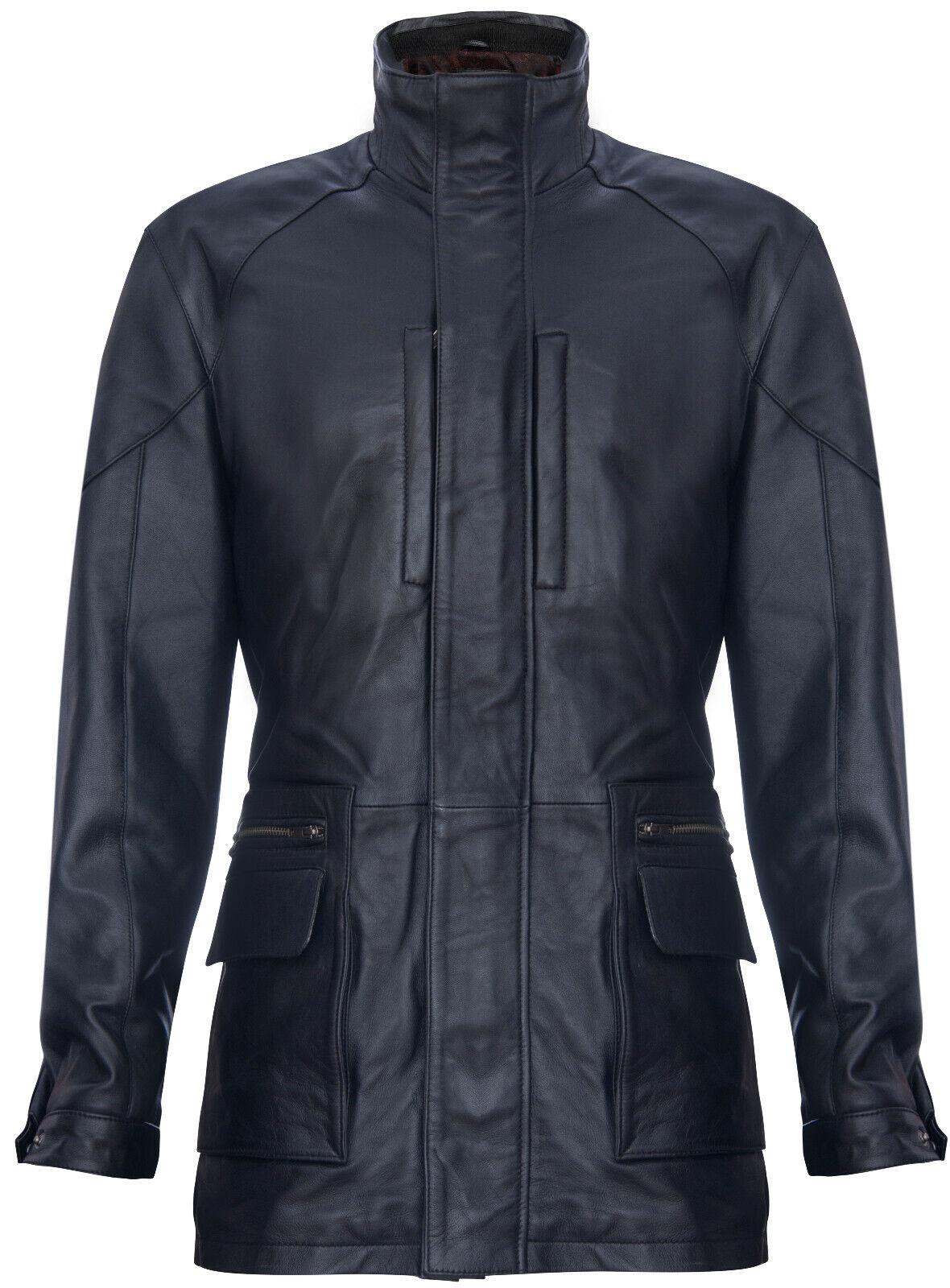 Her's zwart Safari Jasje, Classic Multi-Pocket Belted Reefer Overcoat