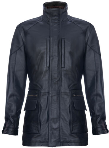 Classic Multi-Pocket Belted Reefer Overcoat Men/'s Black Safari Jacket