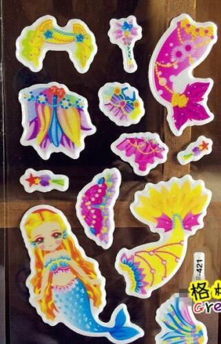 2018 New 6 Sheets 3d Animation Mermaid Paper Crafts Sticker Kids Reward Hot Gift