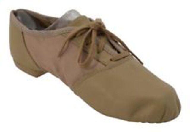 NEW Capezio or Balera Black Tan White Lace up Leather Split Sole Jazz Shoes