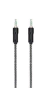 AUX-Kabel-3-5-mm-Klinkenkabel-Audio-Flachkabel-Farbe-Schwarz-Silber