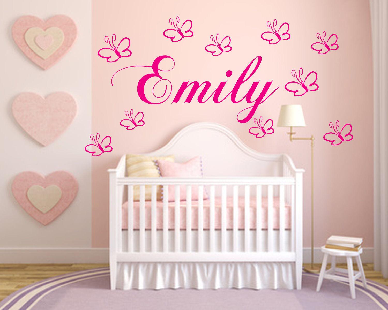 Wandtattoo Wandtattoo Wandtattoo Kinderzimmer Wunschnamen personalisiert mit Schmetterlingen Baby   Mangelware  3dffd6