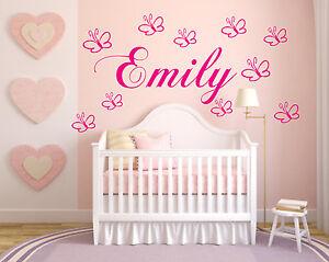 Details zu Wandtattoo Kinderzimmer mit Namen Namen Schmetterlingen Baby  Mädchen Jungen