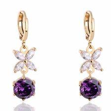 Womens 14K Yellow Gold Filled Amethyst Charm Oval Flower Hoop Earrings Dangle