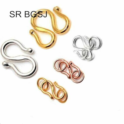 """Jewelry Making DIY S925 Gold Plate/""""S/""""/&/""""W/"""" Hook Connector Findings Clasps"""