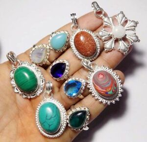 DESIGNER STYLE 925 STERLING SILVER OVERLAY TRADITIONAL NEW MIXED 10 PCS JEWELRY