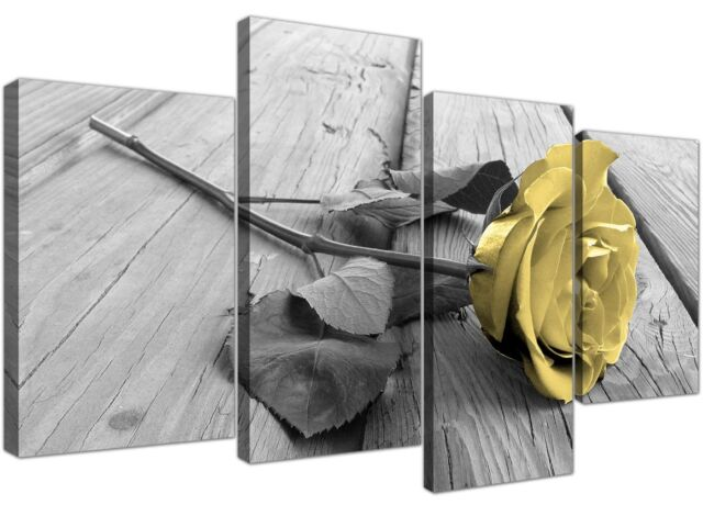 Exceptional Canvas Art Of Yellow Rose Pictures Black White And Grey For Living Room