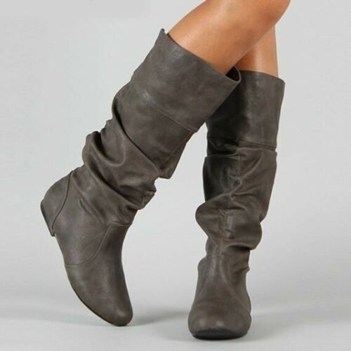 Womens Faux Leather Knee High Riding Boots Flats Pull On Slouch Boots Plus Size