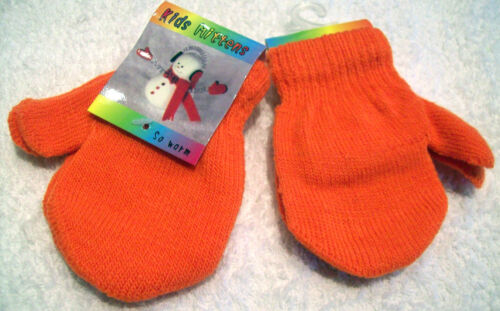 BABY BOY GIRL KIDS TODDLER KNITTED MAGIC MITTS GLOVES STRIPED or NEON WARM HANDS