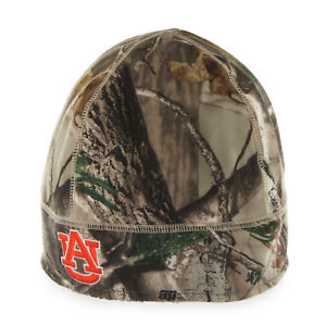 new product 57bf5 c84fc Image is loading NCAA-Auburn-Tigers-Embroidered-Realtree-Camo-Fleece-Beanie-