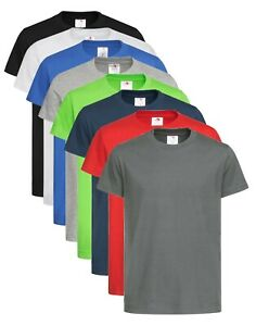 Childs-Boys-Girls-Kids-Organic-Cotton-GREY-BLUE-BLACK-GREEN-T-Shirt-Tee-Shirt