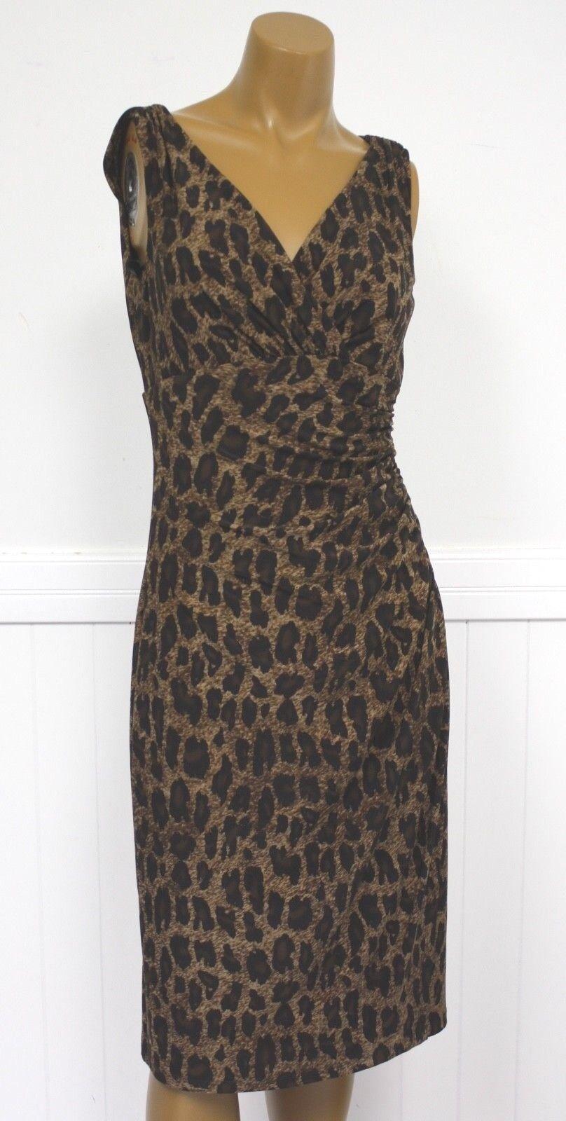 Ralph Lauren Dress braun Leopard Cheetah Animal Print Dress damen Ret 134