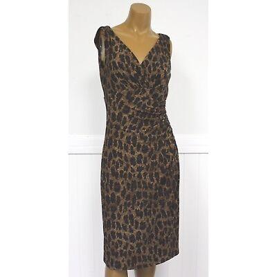 Ralph Lauren Dress Brown Leopard Cheetah Animal Print Dress Womens Ret 134