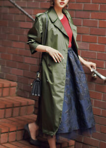 256f5792d Details about NWT Uniqlo IDLF Ines de la Fressange Classic Long Belted  Nylon Trench Coat Olive