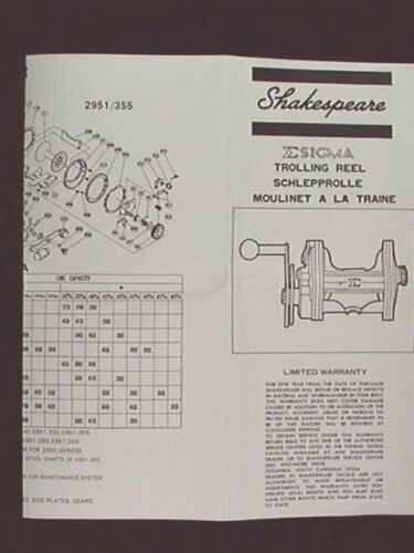 SHAKESPEARE SIGMA TROLLING  REEL OWNER MANUALS REPRO