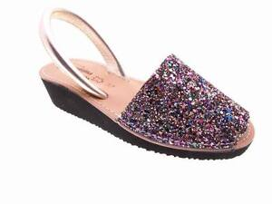 Avarcas Menorca leather Glitter with wedge Woman Size 35 36 37 38 39 40 41