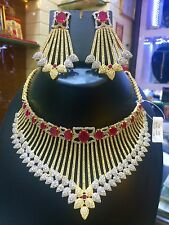 Indian Bollywood AD Wedding CZ Bridal Fashion Jewelry Necklace Set